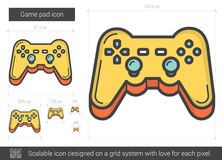 Game pad line icon. Game pad vector line icon on white background. Game pad line icon for infographic, website or app. Scalable icon designed on a grid system stock illustration