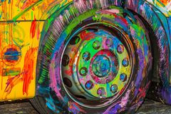 In game Painted wheel. In a game Painted wheel stock photography