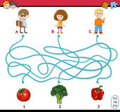 Game of path maze for children. Cartoon Illustration of Educational Paths or Maze Puzzle Task for Preschoolers with Children and Vegetables Royalty Free Stock Photos