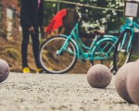 A Game of Petanque or Boules royalty free stock images