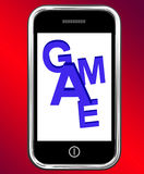 Game On Phone Shows Online Gaming Or Gambling Stock Photo