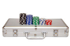 Game pieces and steel carrying case Royalty Free Stock Photos