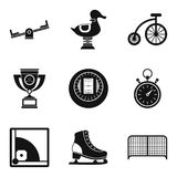 Game place icons set, simple style. Game place icons set. Simple set of 9 game place vector icons for web isolated on white background Royalty Free Stock Photos