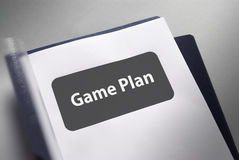Game Plan document. Document title page for the game plan stock image