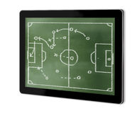 Game plan on greenboard. On screen of tablet  made in 3d software Stock Images