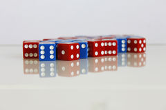 Game play dice red blue number random Royalty Free Stock Photos