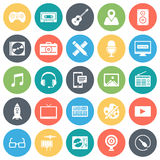Game Play, Music and Television Minimal Icon Set Stock Photos