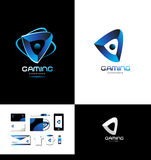 Game playing gaming logo. Vector company logo icon element template games gaming playing abstract blue Stock Photos