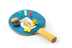 Game playing. Utensil in front of white Background Royalty Free Stock Photo