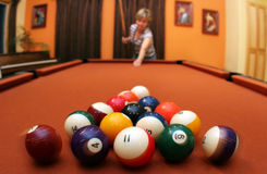 Game of pool. Woman playing pool stock image