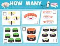 Game for PrCountingeschool Children, Game for kids, Learning mathematics, Educational a mathematical game, How many. Objects on the picture, Counting game sushi Stock Photos