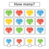 Game for preschool children. Count as many hearts in the picture and write down the result. With a place for answers. Simple flat stock illustration