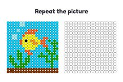 Game for preschool children. Repeat the picture. Paint the circles. fish swims in the sea, algae Royalty Free Stock Photo