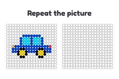 Game for preschool children. Repeat the picture. Paint the circles. transport passenger car Stock Images
