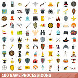 100 game process icons set, flat style Royalty Free Stock Photography
