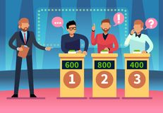 Free Game Quiz Show. Clever Young People Playing Television Quiz With Showman, Trivia Game Tv Competition. Cartoon Design Royalty Free Stock Image - 137386416