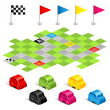 Game racing. Set of color plastic racing cars and flags with gaming field isolated on white background Royalty Free Stock Photo