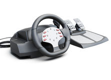 Game racing wheel on a white background. 3d illustration Stock Photography