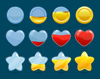 Game Rating Icons Set. Of coin heart and star with different level of fullness isolated vector illustration Royalty Free Stock Image