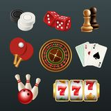 Game realistic icons. Poker dice bowling gambling domino web casino symbols vector illustrations isolated. Chess and tennis ping pong, luck chance and risk royalty free illustration
