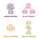 Game related concepts, line style. Part 1 Royalty Free Stock Photos