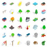 Game reserve icons set, isometric style. Game reserve icons set. Isometric set of 36 game reserve vector icons for web isolated on white background Royalty Free Stock Photos
