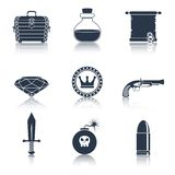 Game resources icons black Royalty Free Stock Photography