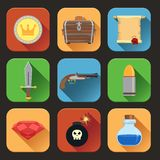 Game resources icons flat. Game resources play elements flat icons set of chest  shield sword  vector illustration Royalty Free Stock Images