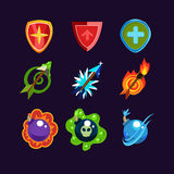 Game Resources Icons. Game resources, weapon icons set Stock Photos