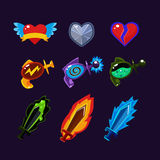 Game Resources Icons. Game resources, weapon icons set Royalty Free Stock Image