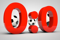 Game result - 0:0 draw. 3d render of soccer game result 0:0 Royalty Free Stock Photography