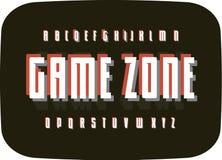 Game retro alphabet on black old TV screen background. Typography vintage pixel font template. Digital entertaining. Alphabet characters for logo, games, card stock illustration