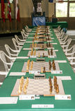 Game room of chess. Game room of the international tournament of chess of Benasque celebrated in July of 2017 in Spain. It`s an editorial image in vertical Royalty Free Stock Photography