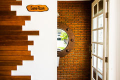 Game room entrance. Front of game room with art design Stock Images