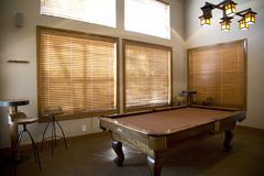 Game room. Pool table in the game room Royalty Free Stock Photos