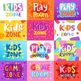 Game room vector kids playroom banner in cartoon style for children play zone decoration illustration set of childish. Lettering label for kindergarten decor vector illustration