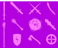 Game RPG weapons icons set Stock Images