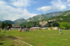 The game Rugby Lecco - Dopla Rugby Casale at the Lecco Bione camp. Stock Photography