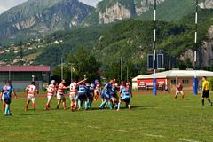 The game Rugby Lecco - Dopla Rugby Casale at the Lecco Bione camp. Stock Photos