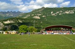 The game Rugby Lecco - Dopla Rugby Casale at the Lecco Bione camp. Royalty Free Stock Image