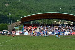 The game Rugby Lecco - Dopla Rugby Casale at the Lecco Bione camp. Royalty Free Stock Photos