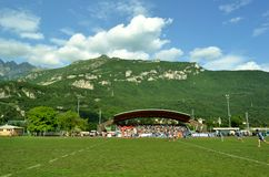 The game Rugby Lecco - Dopla Rugby Casale at the Lecco Bione camp. Stock Images