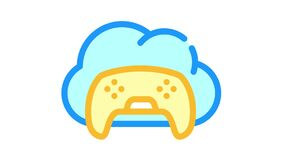 game safe cloud color icon animation