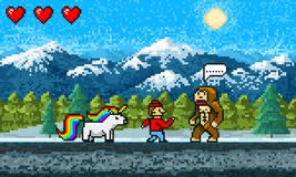 Game scene. Pixel art 8 bit Background. Video interface. Retro location. Mountains, Rainbow pony, monkey and character. Vintage computer video arcades. Vector royalty free illustration