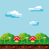 Game scene pixelated background Stock Images