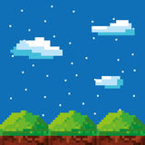 Game scene pixelated background Royalty Free Stock Images