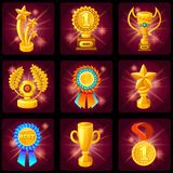 Game Screen Trophies Icon Set Royalty Free Stock Images