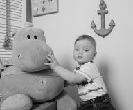 In the game sea room, child boy close up. black and white Stock Photos