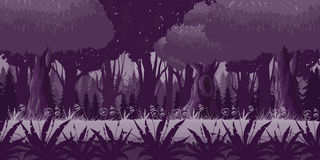 Game Seamless Horizontal Forest Background for side scrolling 2D games, action, adventure Royalty Free Stock Images