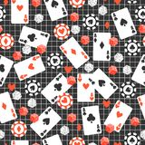 Game seamless pattern with cards, poker chips, dice on original dark background. Play time royalty free illustration